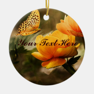 Golden Yellow Butterfly Double-Sided Ceramic Round Christmas Ornament