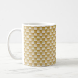 Golden Yellow Carbon Fiber Patterned Coffee Mug