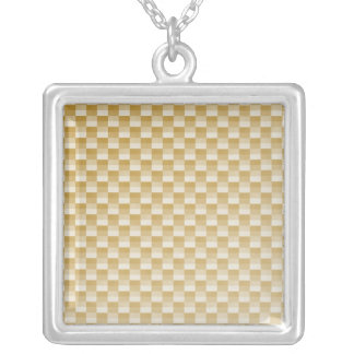 Golden Yellow Carbon Fiber Patterned Silver Plated Necklace