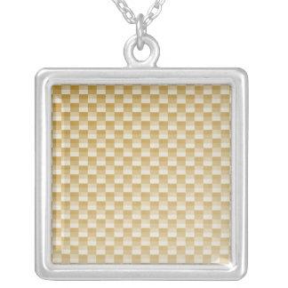 Golden Yellow Carbon Fiber Patterned Square Pendant Necklace