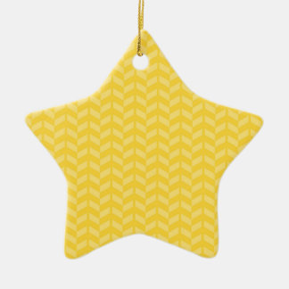 Golden Yellow Chevron Pattern Double-Sided Star Ceramic Christmas Ornament