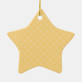 Golden Yellow Circles Pattern Double-Sided Star Ceramic Christmas Ornament
