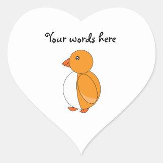 Golden yellow cute penguin heart sticker