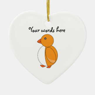 Golden yellow cute penguin Double-Sided heart ceramic christmas ornament