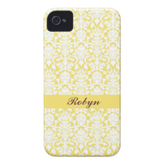 Golden yellow damask pattern custom name personal Case-Mate iPhone 4 case