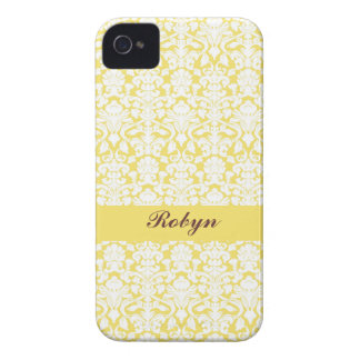 Golden yellow damask pattern custom name personal iPhone 4 Case-Mate case