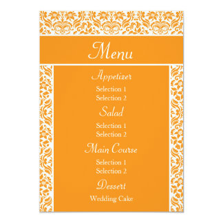 Golden Yellow Damask Wedding Reception Dinner Menu Custom Invitation