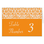 Golden Yellow Damask Wedding Table Number Cards Greeting Card