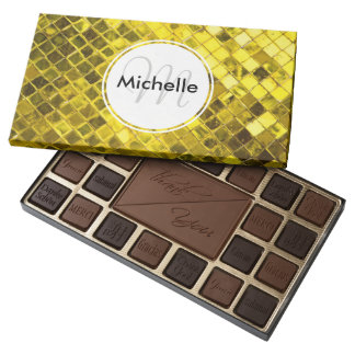 Golden Yellow Diamond Faux Tiles Assorted Chocolates