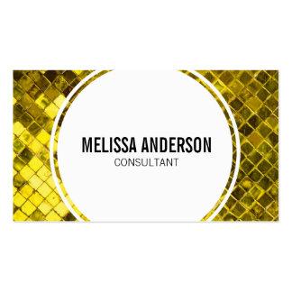 Golden Yellow Diamond Faux Tiles Business Cards
