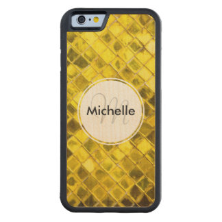 Golden Yellow Diamond Faux Tiles Carved® Maple iPhone 6 Bumper Case