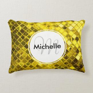 Golden Yellow Diamond Faux Tiles Decorative Pillow