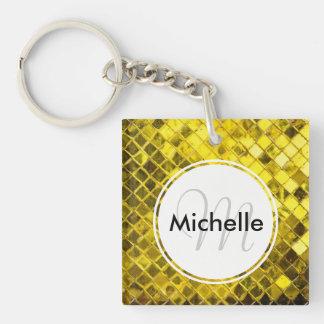 Golden Yellow Diamond Faux Tiles Keychain