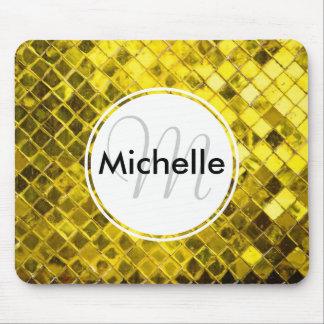 Golden Yellow Diamond Faux Tiles Mouse Pad