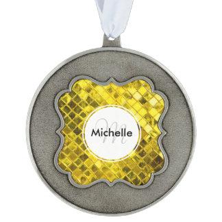 Golden Yellow Diamond Faux Tiles Pewter Ornament
