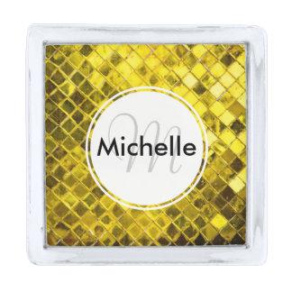 Golden Yellow Diamond Faux Tiles Silver Finish Lapel Pin