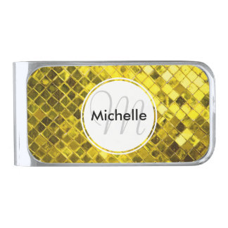 Golden Yellow Diamond Faux Tiles Silver Finish Money Clip