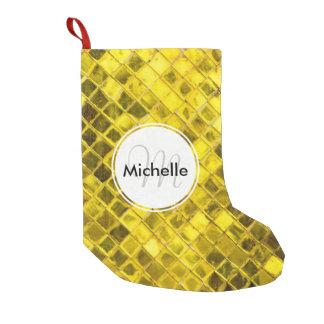 Golden Yellow Diamond Faux Tiles Small Christmas Stocking