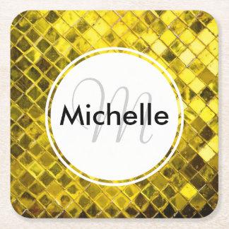 Golden Yellow Diamond Faux Tiles Square Paper Coaster
