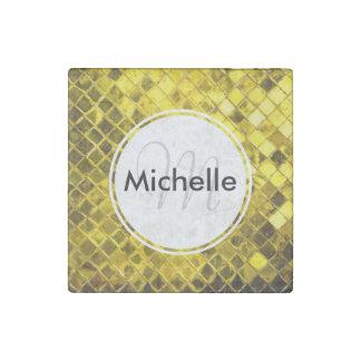 Golden Yellow Diamond Faux Tiles Stone Magnet