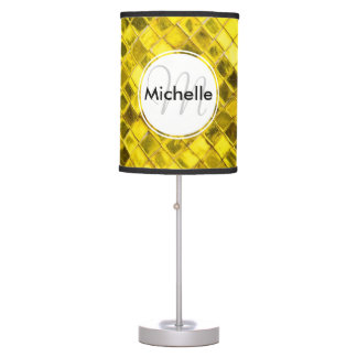 Golden Yellow Diamond Faux Tiles Table Lamp