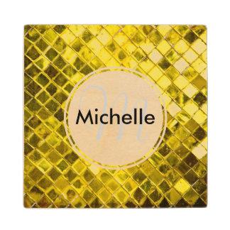 Golden Yellow Diamond Faux Tiles Wooden Coaster