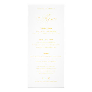 Golden Yellow Elegant Wedding Formal Dinner Menu Custom Invites