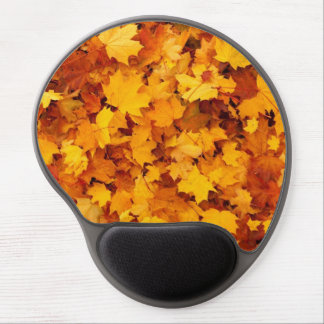 Golden Yellow Fall Leaves Autumn Maple Trees Leafy Gel Mouse Pad