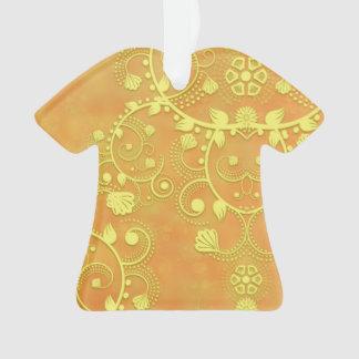 Golden Yellow Fancy Floral Damask Pattern
