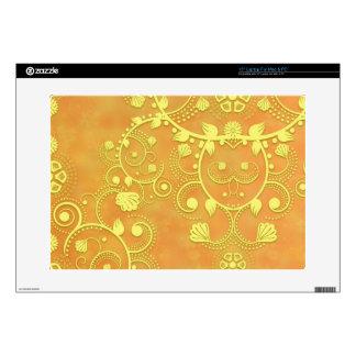 "Golden Yellow Fancy Floral Damask Pattern 15"" Laptop Decal"