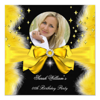 Golden Yellow Feathers Bow Birthday Party Photo 5.25x5.25 Square Paper Invitation Card