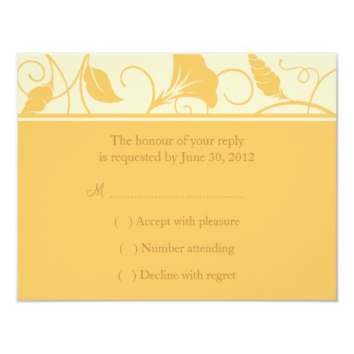 Golden Yellow Floral Wedding RSVP or Reply Card