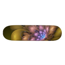 Golden yellow flower 3d - fractal impression. skateboard