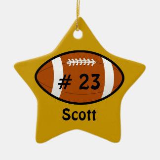 Golden Yellow Football Star Ornament