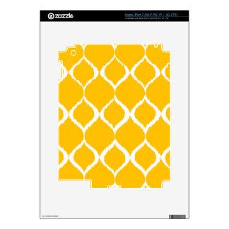 Golden Yellow Geometric Ikat Tribal Print Pattern iPad 3 Skin