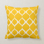 Golden Yellow Geometric Ikat Tribal Print Pattern Pillows