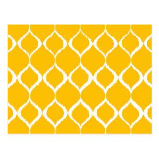Golden Yellow Geometric Ikat Tribal Print Pattern Postcard