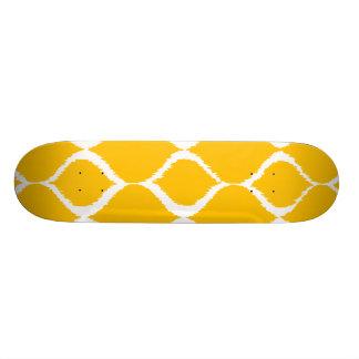 Golden Yellow Geometric Ikat Tribal Print Pattern Skateboard Deck