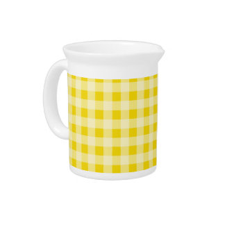Golden Yellow Gingham; Checkered Drink Pitchers