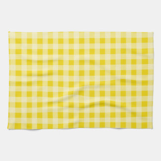 Golden Yellow Gingham; Checkered Hand Towels