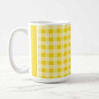 Golden Yellow Gingham; Checkered Classic White Coffee Mug