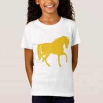 Golden Yellow Glitter Horse Girls T-shirt
