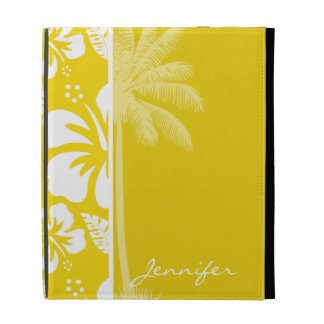 Golden Yellow Hawaiian Tropical Palm iPad Folio Covers