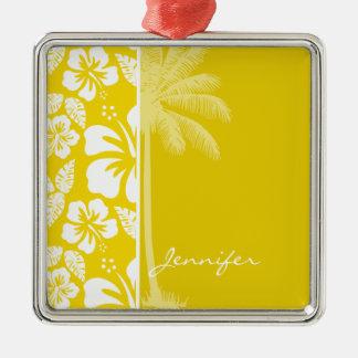 Golden Yellow Hawaiian Tropical Palm Square Metal Christmas Ornament