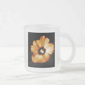 Golden Yellow Hibiscus Frosted Glass Coffee Mug