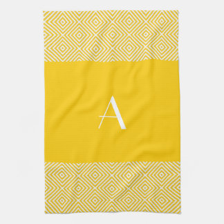 Golden Yellow Kitchen Towel with White Monogram