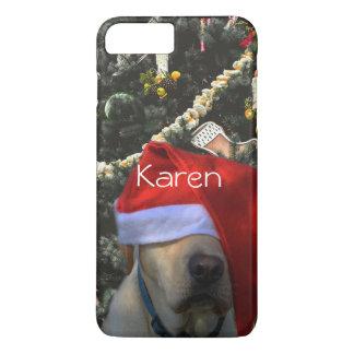 Golden Yellow Labrador in Santa Hat Christmas iPhone 8 Plus/7 Plus Case