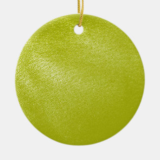 Golden Yellow Leather Look Double-Sided Ceramic Round Christmas Ornament