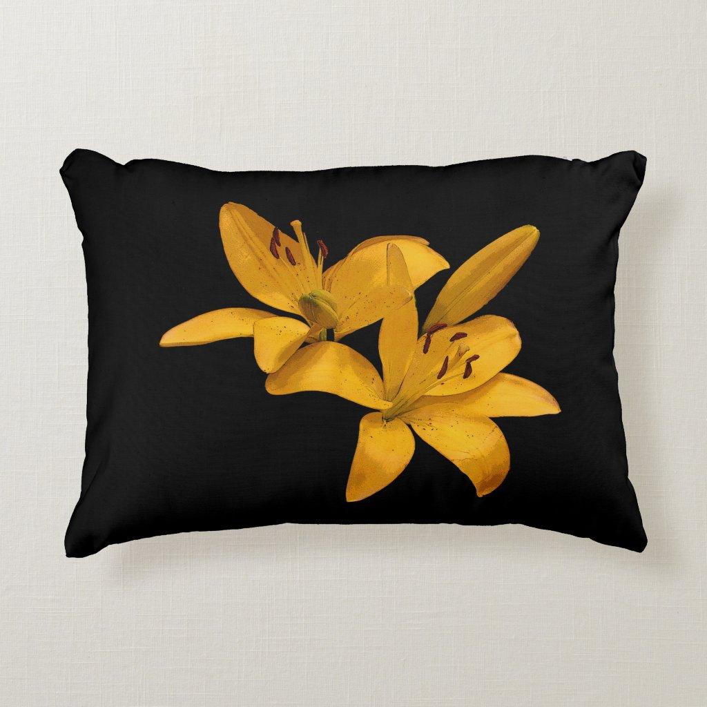 Golden Yellow Lilies Accent Pillow