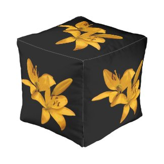 Golden Yellow Lilies Cube Pouf